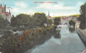 uk27316 bath abbey and river avon uk