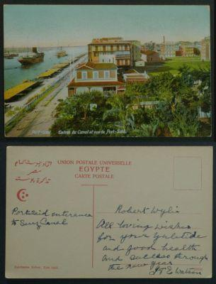 Egypt Port Said Entrance to Suez Canal postcard c1910s