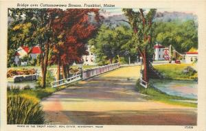 Frankfort Maine~Bridge over Cattamawawa Stream~Gas Station~1940s Linen Postcard