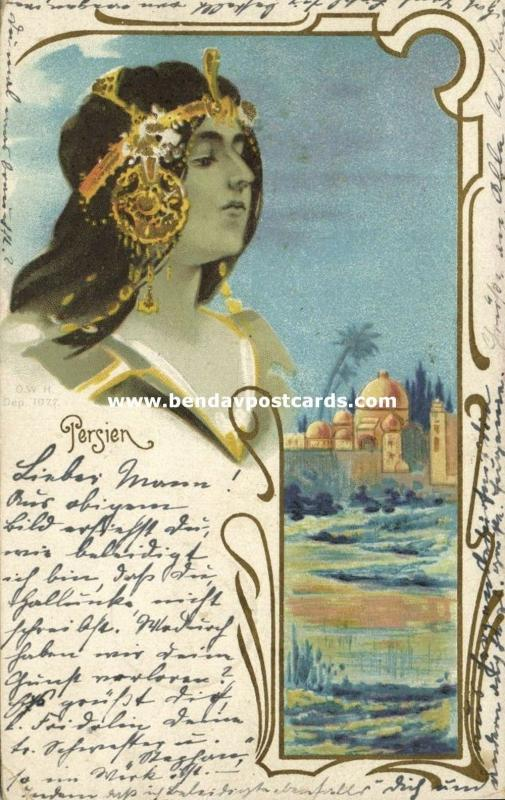 iran persia, Art Nouveau Lady with Town View (1902)
