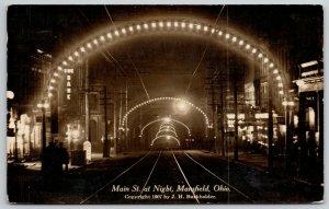 Mansfield Ohio~Lighted Archway~Bank, Main Street @ Night RPPC 1940s Postcard