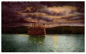 Steamer on Hudson River by moonlight