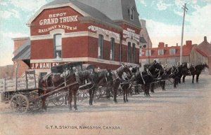 Kingston Canada GTR Depot  Train Station Vintage Postcard AA4249