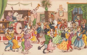 Dressed Dogs , Artist R , 1920-30s ; Dancing