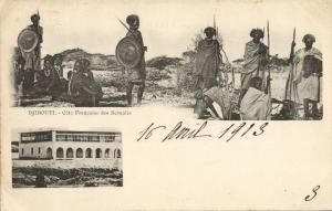 djibouti, French coast of Somalis, Native Warriors (1903) Postcard