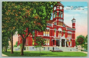 Fond Du Lac Wisconsin~County Court House~Clock Tower~Belfry~C1940~Postcard