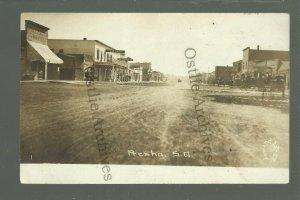 Presho SOUTH DAKOTA RPPC 1914 MAIN STREET Stores nr Pierre Vivian LEELAND ART CO
