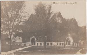 Illinois Il Real Photo RPPC Postcard 1919 GENESEO High School Building
