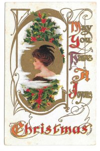 Christmas Pretty Edwardian Lady Holly Embossed Gold Gilt Vintage Postcard