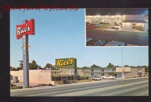 AMARILLO TEXAS ROUTE 66 RICE'S RESTAURANT 1960's CARS VINTAGE POSTCARD