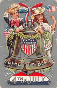 F64/ Patriotic Postcard c1910 4th of July Kids Liberty Bell Flags 8