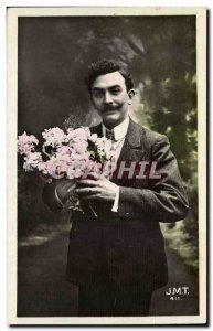 Old Postcard Fancy Man and flowers