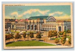 Vintage 1938 Postcard Panoramic View Union Station Train Station Washington DC