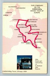 Itinerary On Caravan Grand Tour Of Europe, Chrome Postcard