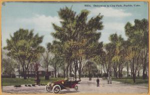 Pueblo, Colo., Driveway in City Park, Old car & park goers