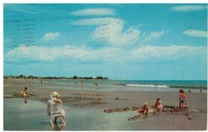 Postcard - Seacoast Children Paying on the Beach of Hampton, New Hampshire