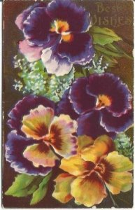 Victorian Pansies Pansy Flowers Best Wishes Vintage Postcard