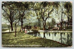 Davenport Iowa~Central Park~People Crossing & Beside Rustic Bridge~1911