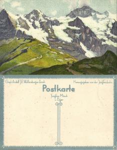 switzerland, Jungfrau, Mönch und Eiger, Artist Signed Ernst E. Schlatter (1910s)
