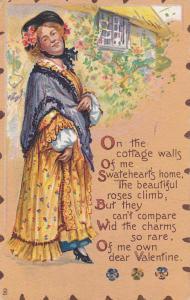 TUCK #4, Happy woman outside , Valentine, PU-1911