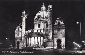 Austria Vienna Karlskirche Festbeleuchtung Real Photo