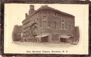 Brooklyn New York birds eye view Montauk Theatre entrance antique pc Z22637