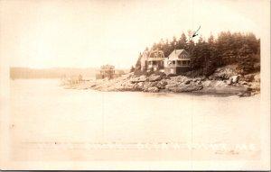 Ocean Point ME West Shore Lizzie Harrington cottage Wiscasset 1930 RPPC