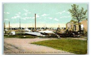 Postcard Old Orchard Beach (OOB), Maine Ruins Seashore & Emerson Fire 1907 Y65 3