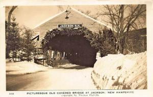 Jackson NH Old Covered Bridge Real Photo Postcard