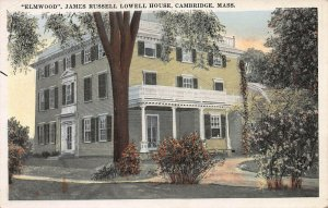 Elmwood, James Russell Lowell House, Cambridge, MA, Early Postcard, Unused