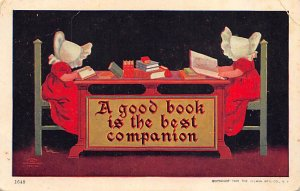 A good book is the best companion Girls reading Sun Bonnet Unused