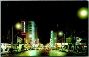 Oklahoma City OKC Postcard BROADWAY Downtown Scene Night c1960s Unused Chrome