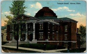 Akron, Ohio Postcard TEMPLE ISRAEL Jewish Synagogue Church Judaica 1914 Cancel