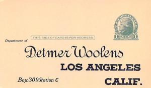 Advertising Post Card Detmer Woolens Los Angeles California USA Unused