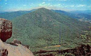 BEDFORD VIRGINIA-FLAT TOP  FROM SHARP TOOTH-PEAKS OF OTTER SKYLINE 1960 POSTCARD