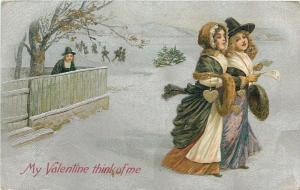 Valentine~Colonial Man Watches Girls~Ice Skaters~Textured Silver~Emboss~Winsch