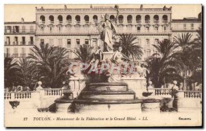 Toulon Old Postcard Monument of the Federation and the Grand Hotel
