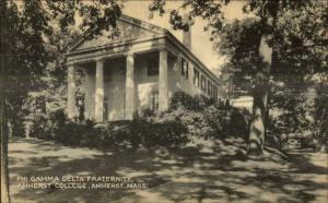 Amherst MA College Fraternity House c1940s Postcard PHI GAMMA DELTA