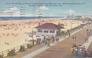 Boardwalk & Beach Looking South from Magnolia Ave., Playland & Conventon Hall...