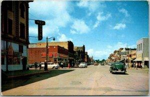 International Falls, Minnesota Postcard THIRD STREET at 3rd Avenue Dated 1958
