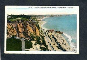 CA View From Huntington Palisades Beach Santa Monica California Postcard 1928