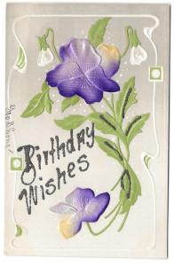 Birthday Wishes Pansies Silk Glitter Add On Vintage Postcard