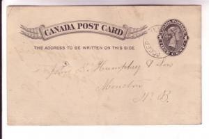 Canadian Postal Stationary, Victoria, 1 Cent Black, Rogerville New Brunswick ...