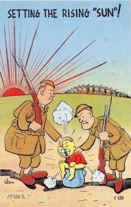 C66/ Patriotic Postcard c40s Anti Japan Setting the Rising Sun Pot Soldiers 13