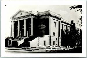 Waxahachie, Texas RPPC Real Photo Postcard First Presbyterian Church c1950s