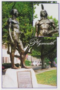 Massasoit Indian Chief Statue Plymouth MA Great Sachem Unused Postcard D22