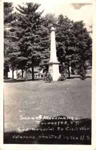 Rochester Vermont Soliders Monument Real Photo Antique Postcard K86360