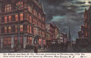 New Jersey Trenton Corner Of State Street and Warren Street At Night
