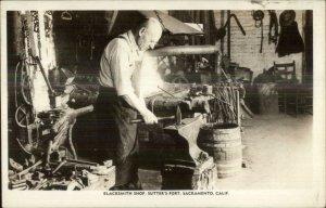 Sacramento CA Blacksmith Shop Sutter's Fort c1940s Real Photo Postcard