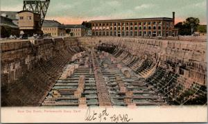 Portsmouth Maine~US Navy Yard~New Dry Dock~Crane~c1908 Postcard
